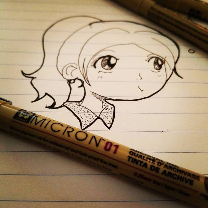 Monday Diaries doodle sketch anime Micron Pens
